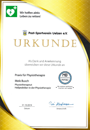 Physio Meik Busch Uelzen - Leben retten mit Defibrillator